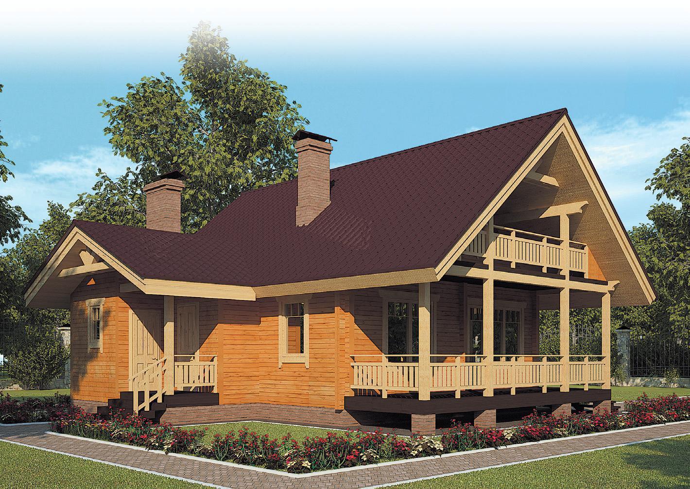 """Строим коттедж из бруса с балконом """" строй дом."""